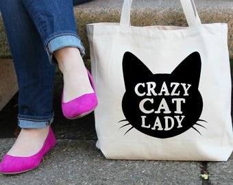 Crazy Cat Lady XL Canvas Tote Bag