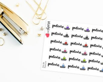 Pedicure | Nail Spa, Nail Appointment, Manicure, Nail Artist, Nail Polish, Nail technician - Hand Drawn Hand Lettered Planner Stickers
