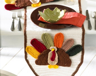PA989 Turkey Table Runner and Placemat Crochet Pattern PDF