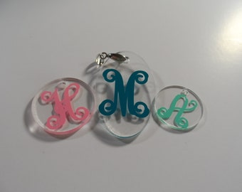 Monogram Acrylic Necklace Pendant with Initial FREE SHIPPING