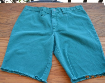 """70's Green teal Shorts,cut off's,30"""" inch waist, long 18"""" easy to make into short shorts,Urban,Vintage Normacor,Beach party wear"""