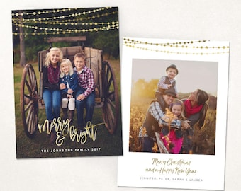 Christmas Card Template -  Gold Merry & Bright Holidays Vertical Photo Card - Photoshop template 5x7 flat card - CC150