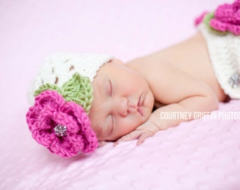 The Sofia Flower Beanie in Ecru, Bright Pink and Celery Green Available in Newborn to Tween Size- MADE TO ORDER