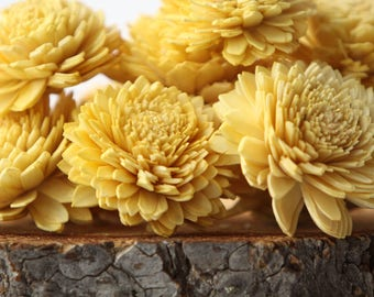 Mustard Yellow Zinnia Sola Flowers - SET OF 10 , Zinnias, Sola, Wood Sola Flowers, Zinnia Sola, Balsa Wood Flowers, Sola Wood Flowers