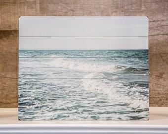 Wood Plank Sign: Blue Ocean Wood Plank, Ocean Art, Beach Decor, Beach Landscape Print, Beach Art, Pale Blue Sea, Teal, Mint, Aqua.