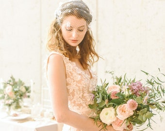 Birdcage Veil, Flower Veil, Floral Pearl Veil, Bridal Birdcage Veil, Ivory Veil, White Veil, Bandeau Veil, Wedding Veil, Style 306