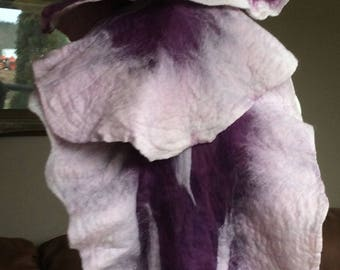 Winter Merino organic dyed varing purple scarf extra long