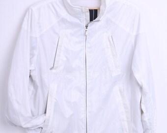 Belstaff Womens M Jacket White Nylon Waterproof Windcheater Shiny