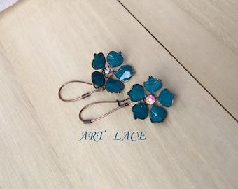 Copper Rustic earrings Dangle and drop Teal copper earrings Teal flower drop earrings Rustic wedding Bridesmaid earrings Graduation gift her