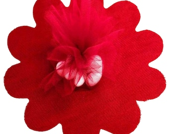 """Red Tulle Circles with Petal Edge 25/pkg. 9"""" / 23 cm"""