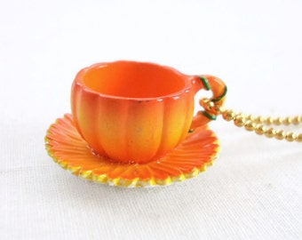 Ginger - pumpkin teacup necklace - marigold flower necklace - orange miniature teacup necklace - tea cup necklace - tea jewelry