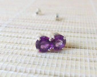 African Amethyst Stud Sterling Silver Earrings February Birthstone 6mm