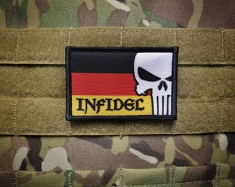 Germany Punisher Skull INFIDEL Flag Multicam Military Morale Patch Army German