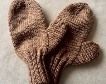 Brown Mittens, adult mittens, knitted mittens