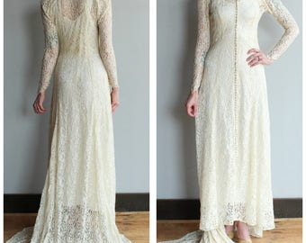 1930s Wedding Gown // Kind Love Lace Wedding Gown // vintage 30s wedding gown