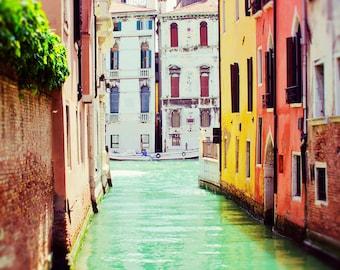 Venice Photography, Italy Art, Venice Art Print, Travel Decor, Venice Canal, Large Wall Art, Italian Home Decor, Green, Colors, Water Photo