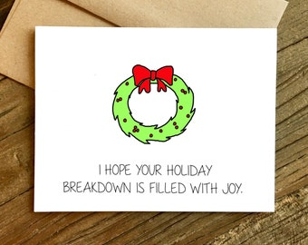 Funny Christmas Card - Christmas Card - Holiday Card - Holiday Breakdown.