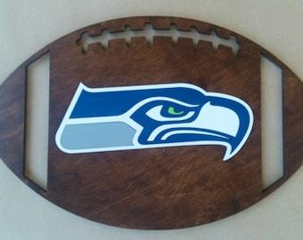 """Seattle Seahawks Football   Laser cut Wood  9""""x14.5"""""""