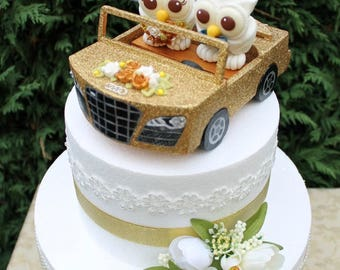 Car wedding cake topper, custom owl cake topper, bride and groom in a car, glitter car cake topper, love bird cake topper, car model