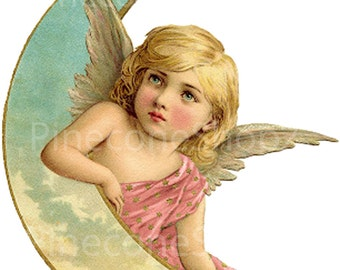 Vintage Angel and Moon 4 x 5 inches PNG file  450 dpi