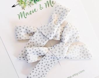 Silver Polka Dot Pigtail Bows