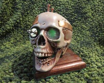 Steampunk light up Skull Green #150
