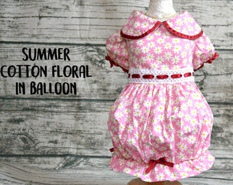 Dog dress,Dog dress balloon,Dog clothes floral in pink and red,dog outfit,cat dress