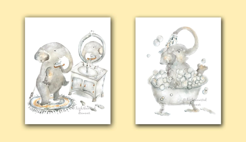 Elephant Bathroom Print set Choose 2 of 3 Elephant Prints