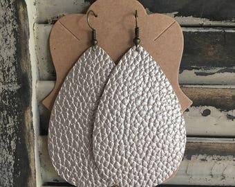 Champagne Gold Leather Teardrop Earrings - Handmade Earrings - Leather Earrings - Lightweight Earrings