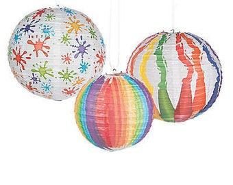 6 Paint Party Lanterns - Art Party Decorations, Artist Party Paper Lantern, Paint Can Party Paper Fans Paintbrush Paint Splatter Decorations