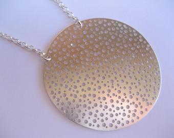 X large silver disk neckpiece