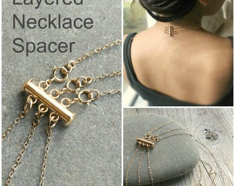 Detangling Layered necklace spacer clasp, gold, silver or Rose gold, no more tangle, no more mess. detangling, detangled, Layering magic!