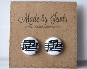 Black and White Musical Note Handmade Fabric Covered Hypoallergenic Button Post Stud Earrings 10mm