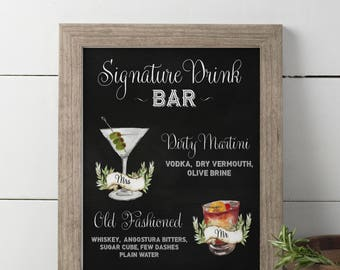 Wedding Signature Drinks sign, Printable Drink Sign, Wedding Bar Menu, Bar sign, Bar Menu, Dirty Martini, Old Fashioned