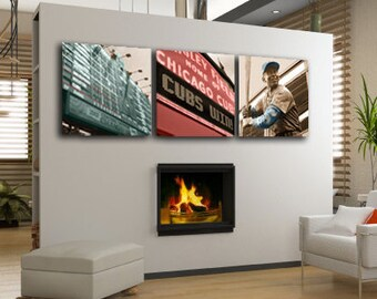 Chicago Cubs Wrigley Field Canvas Art Set of 3, Chicago art, Chicago Cubs Canvas, Chicago Cubs Wall Art