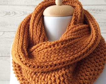 Knit cowl, scarf, mustard scarf, knitted scarf, scarf, knit scarf, scarf men, mens scarf / Many Colors / FAST DELIVERY