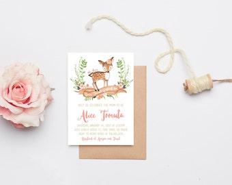Baby Shower Invitation Girl, Woodland Baby Shower Invitation, Boho Floral Baby Shower, Printable Invite, Shower Invitation (576)
