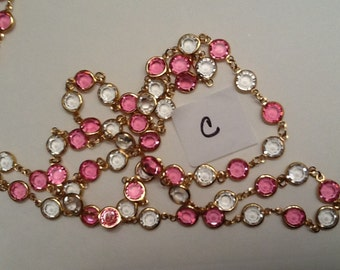 Pink Swarovski bezel set necklace your choice