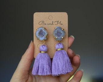 Purple Tassel Earrings with Geodes