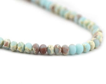 Imperial Impression Jasper Matte Powder Blue Beige Swirls Inclusions Composite Stone Upcycled Bead Rondelle 4x6mm