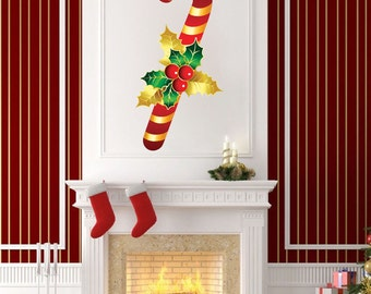 Candy Cane Decal Wallpaper Mural Reusable Christmas Removable Window Cling