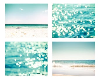 nautical decor beach photography ocean print set 8x10 8x12 fine art photography bokeh sparkle photography coastal prints teal art print