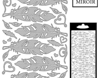 Decal stickers - feathers - silver mirror 7.5x2 cm