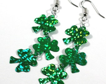 St Patricks Shamrock Earrings Green Hologram Clovers Dangle Plastic Sequin Earrings