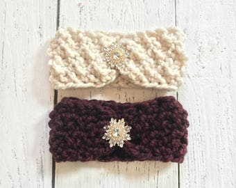 Knit Headband,Knitted Headband in Cream/Bordeaux,Cozy Ear Warmer, Headwarp, Women's Fall/Winter Fashion Accessory,Gift ForHer,Hand Made USA