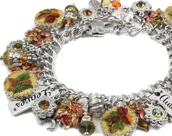 Leaf Charm Bracelet for the Autumn Season with Pumpkins, Leaves, Pine cones and tons of charms in stainless steel