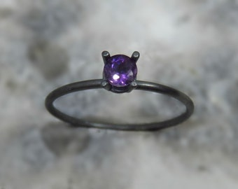 Oxidized Silver amethyst ring / Silver engagement ring / Genuine amethyst ring / Faceted amethyst ring