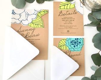 Handcrafted Fabric Wedding Invitation - Sample Set