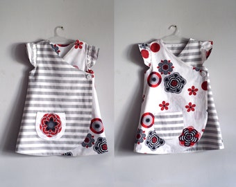 Mandalas reversible dress with stripes, infant dress w flutter sleeves, cotton frock, girls tunic dress, gray and red, sizes from NB to 4T