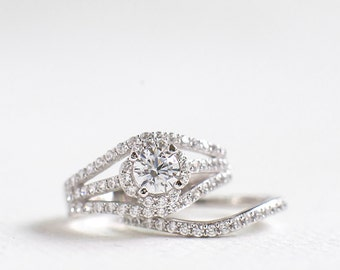 CZ Diamond Wedding Ring Set - Round Cut Wedding Ring Set - Sterling Silver Ring Set - Engagement Ring - Double Band Ring - Promised Ring A42
